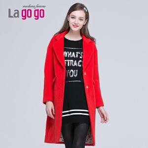 lagogo拉谷谷冬季新款西装领红色款百搭毛呢大衣