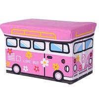 儿童玩具收纳凳储物凳子可坐人衣服收纳箱盒多功能宝宝卡通整理箱 大号粉白巴士