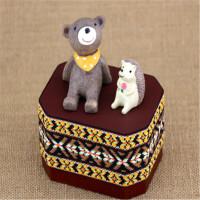 可爱小动物手摇音乐盒木质迷你八音盒天空之城创意生日送女生儿童礼品 【发条式--八角形】小熊+