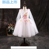 女童礼服白色短款公主裙中大童六一儿童演出服蓬蓬裙彩纱花童礼服