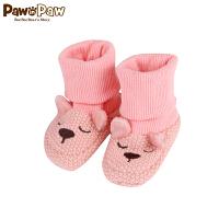 【2件2.5折 到手价:40】Pawinpaw宝英宝卡通小熊童装冬款男女宝宝针织袜套婴儿小鞋子