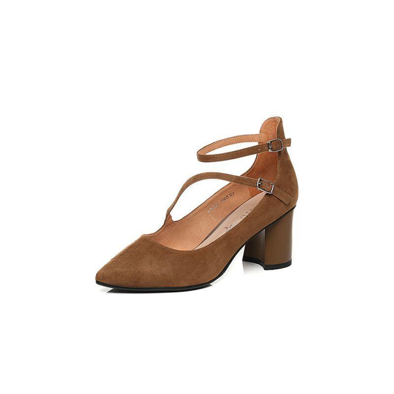 BASTO/百思图2017秋季专柜同款羊绒皮优雅通勤尖头粗跟女浅口鞋RBC20CQ7