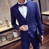 男士西装三件套韩版格子修身职业正装新郎伴郎结婚礼服小西服