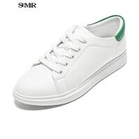 Semir小白鞋女春新款休闲板鞋学生运动鞋板鞋潮女简约系带单鞋