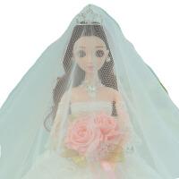 新款婚纱芭比娃娃公主超大90厘米女孩仿真玩具洋娃娃生日七夕礼物 站立高度48cm左右(含支架)