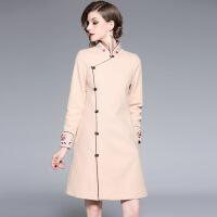 中国风唐装改良旗袍外套秋冬季2018新款女民国风少女大衣汉服加厚 米白色