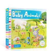 英文原版 忙碌系列:Busy Baby Animals 忙碌的小动物 儿童早教启蒙机关操作活动纸板书 锻炼低幼宝宝小手