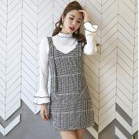 2018春装新款女装学院风格子两件套连衣裙秋冬套装背带裙学生裙子