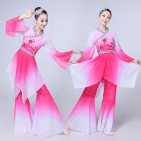 新款青花瓷演出舞蹈 民族舞蹈古典舞蹈演出服女扇子秧歌表演礼服 玫红色 图2