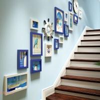 创意个性挂钟复式组合相框墙楼梯装饰照片墙简约现代公寓相片墙