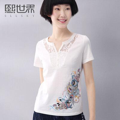 熙世界蕾丝短袖T恤女2017夏装新款民族风V领修身显瘦上衣192ST195
