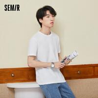 【限时抢价格:38.75元】森马短袖T恤男纯色圆领上衣2021夏季新款韩版男士舒适打底体恤衫
