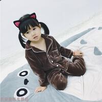 冬季秋冬款童装儿童男童法兰绒加厚珊瑚绒睡衣女童宝宝家居服套装秋冬新款