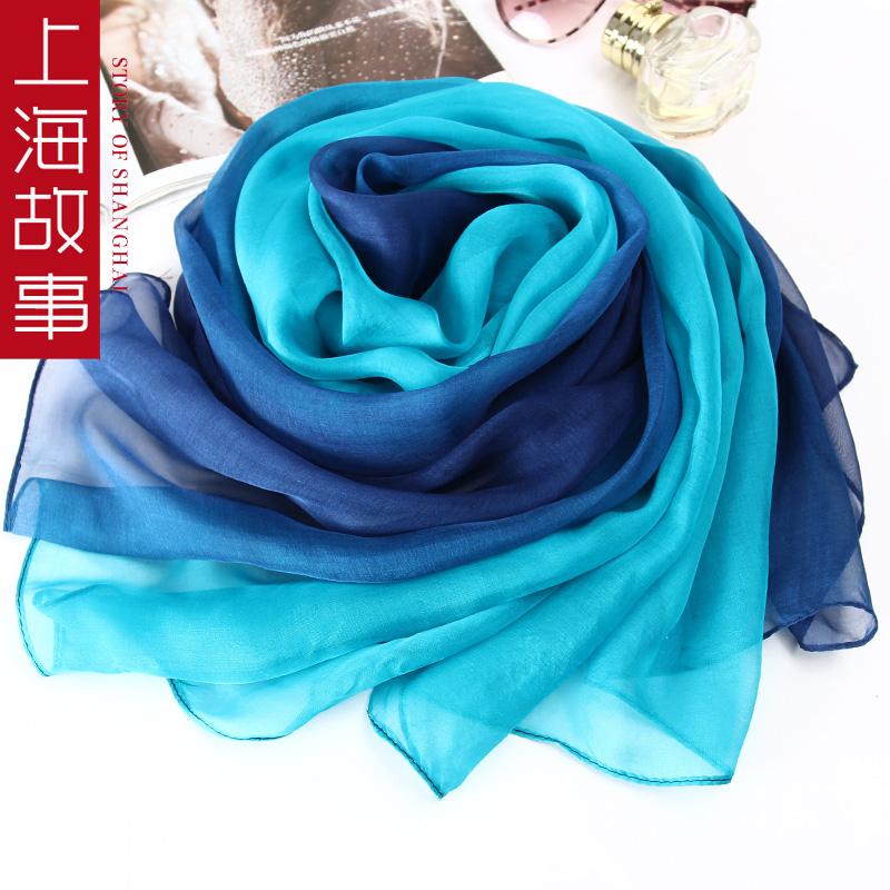 上海故事春夏女士精美吊坠桑蚕丝丝巾真丝渐变韩版围巾披肩纱巾