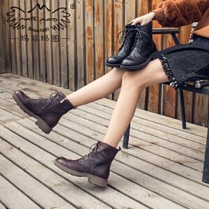玛菲玛图复古马丁靴女英伦风厚底侧拉链秋冬季女靴子系带chic短靴2018新款57511-5
