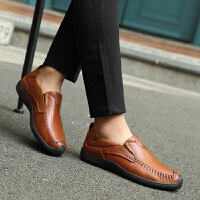 DAZED CONFUSED2017新款套脚商务正装皮鞋青年头层牛皮豆豆鞋英伦风男士休闲鞋