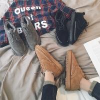 DAZED CONFUSED 潮牌冬季新款加绒保暖休闲鞋韩版青年潮流纯色低帮系带棉鞋男潮