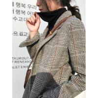 2018新款秋冬双面混仿羊绒大衣女中长款流行格子韩版西装复古毛呢外套
