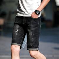 牛仔短裤男士夏季薄款修身直筒黑色乞丐裤潮