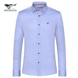 七匹狼长袖衬衫 17秋季新款 百搭商务休闲方领时尚长袖衬衣