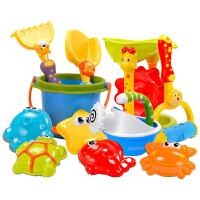 儿童沙滩玩具大号宝宝玩沙铲子沙漏工具小孩戏水挖沙子桶组合套装 豪华11件套