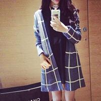 2018秋季新品韩版针织开衫大格子毛衣外套女中长款宽松学院风百搭 建议95-125的穿哦
