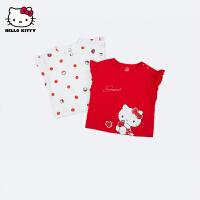 【 2件3折�r:41.7元 可�B加券】hellokitty女童短袖T恤2021夏季新款�和�洋�獍胄渖弦����童�b潮