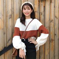 学院风蝴蝶结系带长袖套头毛衣女秋冬新款韩版宽松针织衫学生