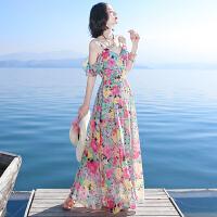 夏季新品女装荷叶边吊带裙雪纺连衣裙长裙波西米亚海边度假沙滩裙 图片色XZC519
