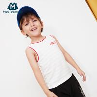【2件4折】迷你巴拉巴拉男童轻薄运动背心夏装新款童装网孔透气儿童上衣