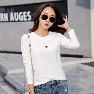 秋季新款女装上衣白色长袖t恤女修身纯色韩版简约打底衫体恤