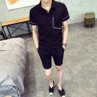 港风潮男时尚拼边口袋短袖POLO衫套装夏季新款修身休闲短裤套装