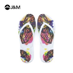 jm快乐玛丽2018新品设计师涂鸦平底夹趾拖鞋沙滩女士凉拖T1032W