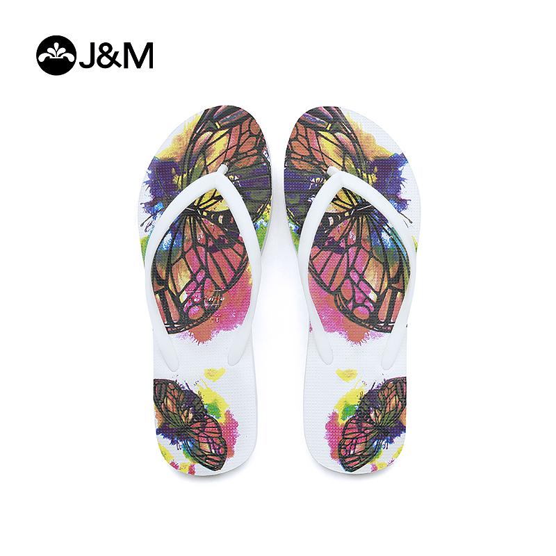 jm快乐玛丽新品设计师涂鸦平底夹趾拖鞋沙滩女士凉拖
