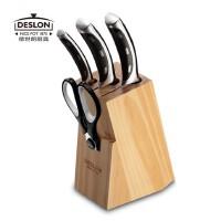 DESLON德世朗切菜刀德国进口不锈钢切片刀切肉刀水果刀厨房刀具五件套装LY-TZ001-4E