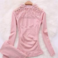 2018新款薄款女士保暖内衣莫代尔秋衣秋裤套装蕾丝高领塑身美体打底衫 灰粉色