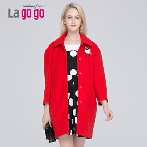 Lagogo/拉谷谷冬季新款纯色单排扣拼接毛呢大衣