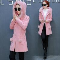 毛呢外套女秋冬季流行女�b�n版中�L款加厚大毛�I呢子大衣