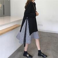 假两件连衣裙女秋装学生韩版原宿小清新格子系带中长款卫衣裙显瘦
