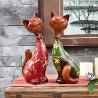 创意招财对猫摆件欧式树脂情侣猫咪工艺品家居装饰品结婚礼物实用 对猫