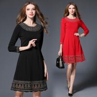 红色连衣裙秋冬款新款名媛气质大码中长款打底裙子女长袖