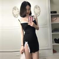 欧美风2018新款包臀性感夜店装甜美低胸细吊带连衣裙女情趣睡裙