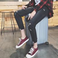 韩版修身裤子男春夏潮流九分裤男士黑色破洞牛仔裤青年小脚9分裤