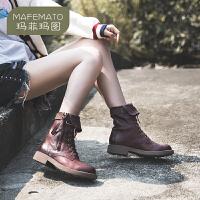 玛菲玛图欧美帅气系带机车靴2017新款短靴女粗跟女靴春秋单靴侧拉链马丁靴设计师女鞋M19815751T10