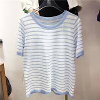 韩国学院风减龄套头短袖宽松显瘦随意休闲针织条纹T恤3