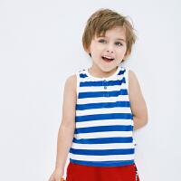 【2件4折】迷你巴拉巴拉男童条纹背心夏装新品儿童宝宝运动弹力无袖T恤