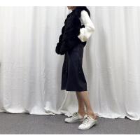 K@30 韩版气质显瘦马夹女201冬季新款休闲仿皮草外套YQ