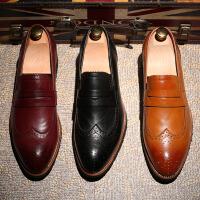 DAZED CONFUSED 潮牌春夏韩版男士布洛克雕花皮鞋内增高一脚蹬男鞋英伦尖头休闲鞋