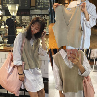 春季条纹衬衫POLO领连衣裙+V领针织外搭背心两件套大码胖MM200斤