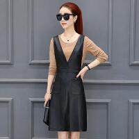 时尚套装2018春季新款韩版连衣裙收腰显瘦休闲上衣裙子两件套女装 肉色打底+黑裙
